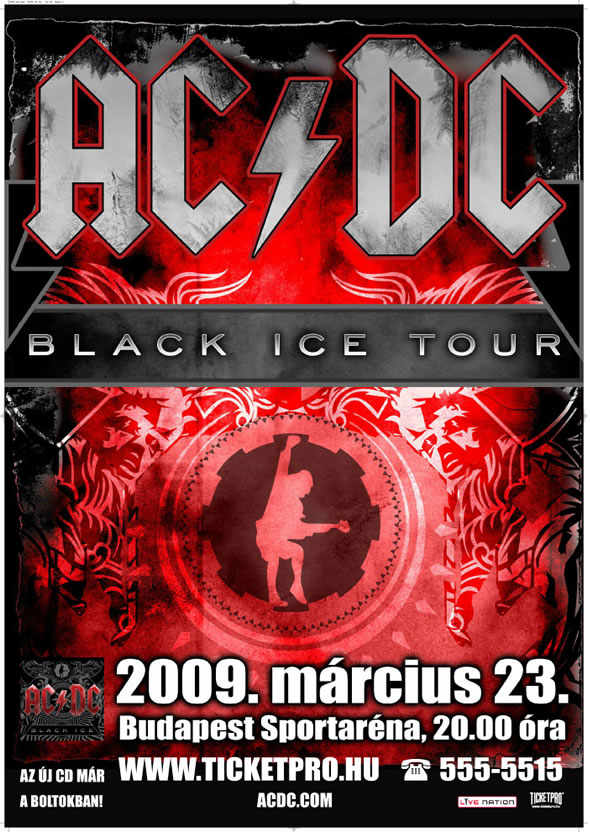 ACDC Black Ice Tour Budapest Poster